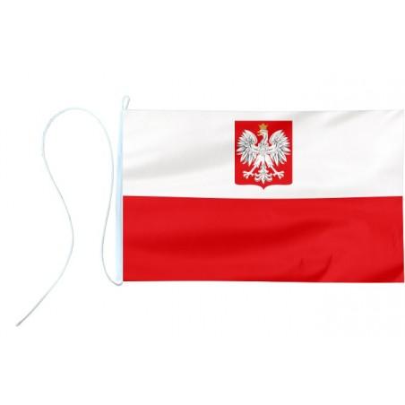 Flaga jachtowa Polski z godłem 30x20cm - bandera pod sailing