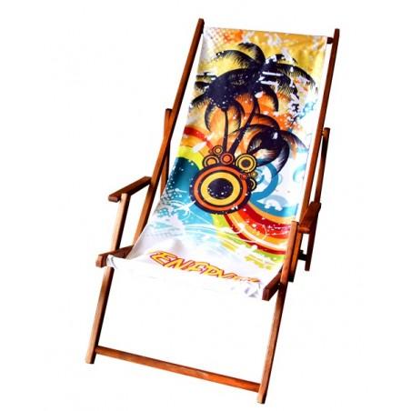 Leżak plażowy z dowolnym nadrukiem typu komfort z podłokietnikami