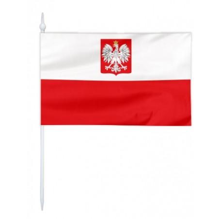 Chorągiewka Polski z godłem ( bandera ) 11x6cm