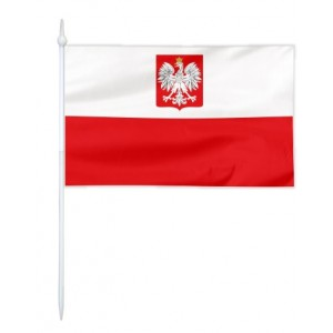 Chorągiewka Polski z godłem (bandera) 30x19cm