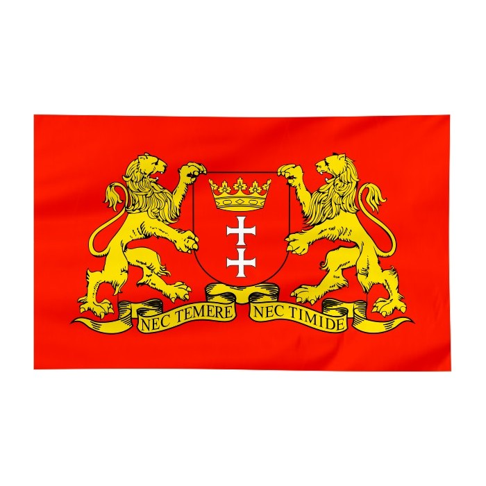 Flaga Gdańska z herbem 120x75cm
