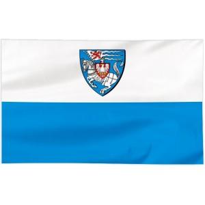 Flaga Koszalina z herbem na białym pasie 120x75cm