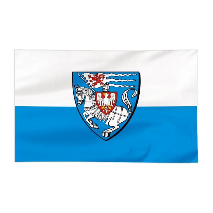 Flaga Koszalina z herbem 120x75cm