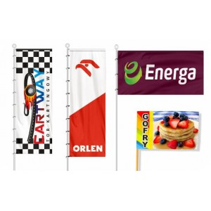 Flaga reklamowa 400x120cm z dowolnym nadrukiem