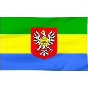Flaga Ostrołęki z herbem 100x60cm