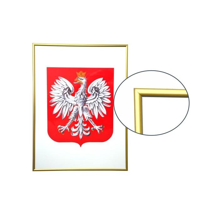 Godło Polski w ramie aluminiowej złotej w rozmiarze 30x21cm - A4