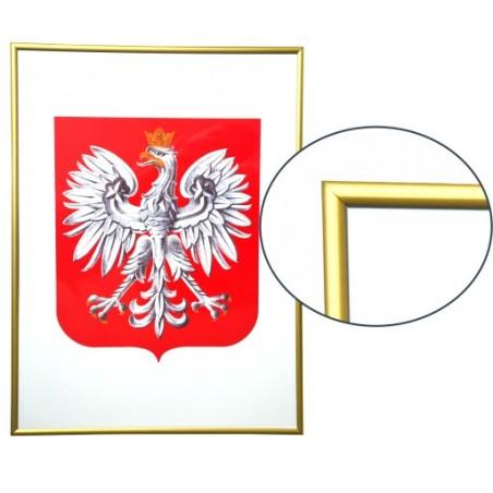 Urzędowe Godło Polski 30x21cm w ramie aluminiowej złotej - A4
