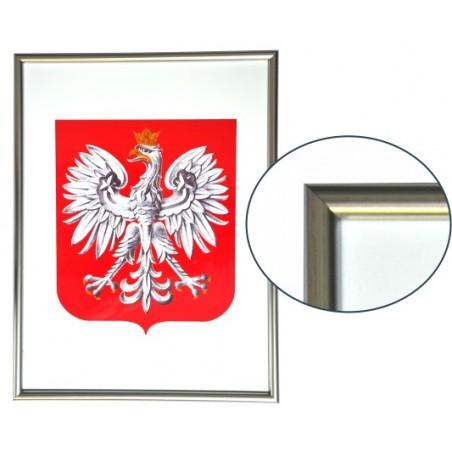 Urzędowe Godło Polski 30x21cm w ramie aluminiowej srebrnej - A4