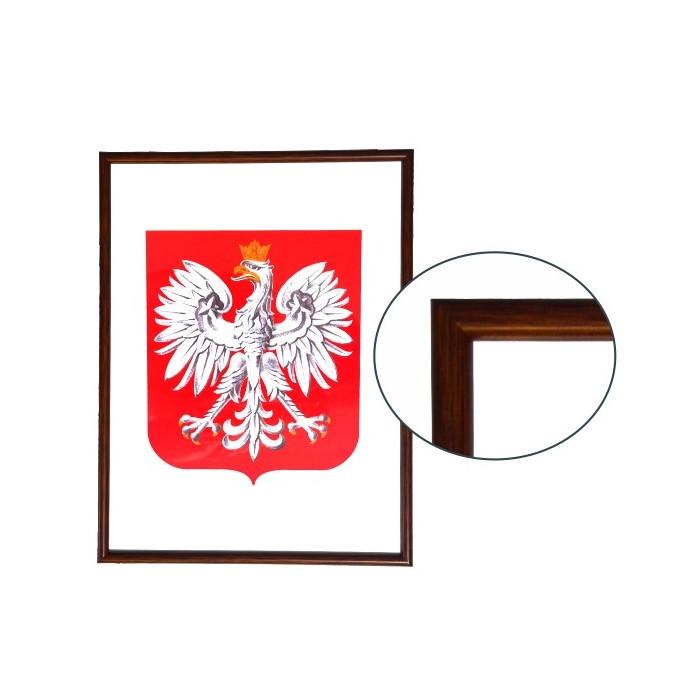 Godło Polski w ramie drewnianej ciemnej w rozmiarze 30x21cm - A4