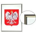 Godło Polski w ramie aluminiowej srebrnej w rozmiarze 30x21cm - A4