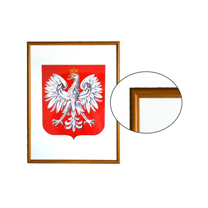 Godło Polski w ramie drewnianej jasnej w rozmiarze 30x21cm - A4