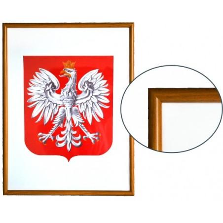 Urzędowe Godło Polski 40x30cm w ramie drewnianej jasnej - A3