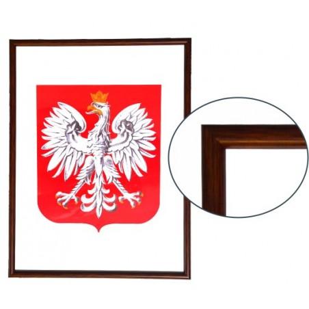 Urzędowe Godło Polski 40x30cm w ramie drewnianej ciemnej - A3