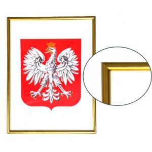 Godło Polski w ramie drewnianej złotej w rozmiarze 30x21cm - A4