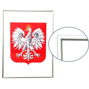 Godło Polski w ramie drewnianej srebrnej w rozmiarze 30x21cm - A4