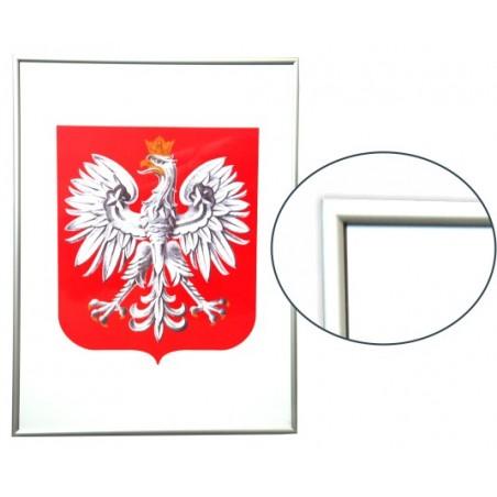 Urzędowe Godło Polski 40x30cm w ramie drewnianej srebrnej - A3