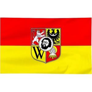 Flaga Wrocławia z herbem 120x75cm