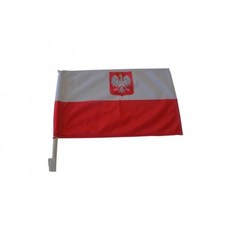 AUTOFLAGA Polski 45x30cm Flaga samochodowa Polski z Godłem