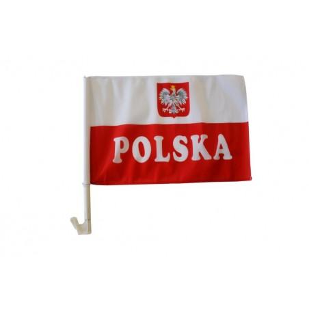 AUTOFLAGA Polski 45x30cm Flaga samochodowa Polski z Godłem i napisem