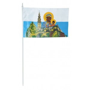 Chorągiewka 30x19cm z wizerunkiem Matki Boskiej Częstochowskiej i Jasnej Góry