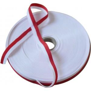 Wstążka Rypsowa Tasiemka biało- czerwona 1cm
