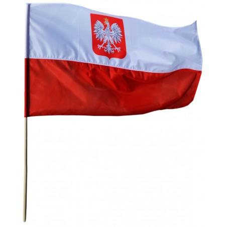 Flaga Polski z godłem 80x50cm - bandera