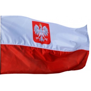 Flaga polski z godłem